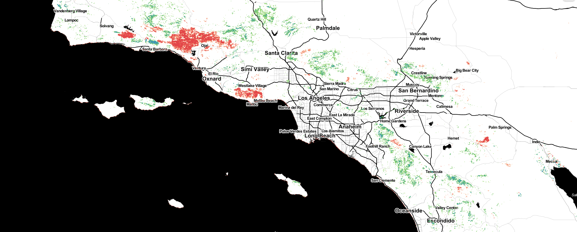 Canopy Cover Change from 2016-2020 in Southern California